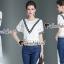 Seoul Secret Say's... Vee Stripy Ivory Lace Tops Denim Lace Side Split Set thumbnail 1