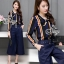 Sevy Two Pieces Of Stripes Navy Ribbon Neck Shirt With Pants Sets thumbnail 1