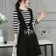 &#x1F380 Lady Ribbon's Made &#x1F380 Lady Grace knit Chic Striped Overall Black Dress thumbnail 2