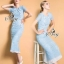 Sevy Flora Blue Lace Short Sleeve Blouse With Long Skirt Suit Sets thumbnail 3
