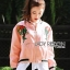&#x1F380 Lady Ribbon's Made &#x1F380 Lady Esthelle Sporty Feminine Red Roses Embroidered Pink Bomber Jacket thumbnail 2