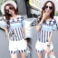 Sevy Turquoise Retro Strips Blouse With Shorts Sets thumbnail 3