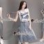 Seoul Secret Say's... Nifty Grease Live On Stage Print Denim Skirt Set thumbnail 2