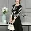 &#x1F380 Lady Ribbon's Made &#x1F380 Lady Grace knit Chic Striped Overall Black Dress thumbnail 1