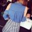 Cliona made' Kenza Denim Shoulder Off Top + Arrow Short - Denim shirt thumbnail 6