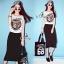 Sevy Tiger Head Printed Striped Skirt Ribbon Shoulder Midi Dress thumbnail 7