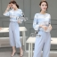 Sevy Two Pieces Of Pastel Blue Strips Blouse With Pants Sets (Belt) thumbnail 6