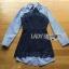&#x1F380 Lady Ribbon's Made &#x1F380 Lady Jennifer Sexy Striped Poplin Cotton and Dark Blue Lace Shirt Dress thumbnail 4