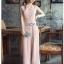 🎀 Lady Ribbon's Made 🎀Lady Caroline Minimal Feminine PalePink Crepe Jumpsuit thumbnail 1