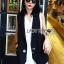 &#x1F380 Lady Ribbon's Made &#x1F380 Lady Alice Smart Casual Sleeveless Black Suit and Long White Shirt Set thumbnail 2