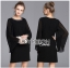 &#x1F380 Lady Ribbon's Made &#x1F380 Lady Katie Allure Embellished Pleated-Sleeve Black Dress thumbnail 4