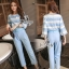 Sevy Two Pieces Of Pastel Blue Strips Blouse With Pants Sets (Belt) thumbnail 3