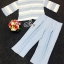 Sevy Two Pieces Of Pastel Blue Strips Blouse With Pants Sets (Belt) thumbnail 7