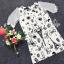 Sevy Spring Korean Printed Round Neck Org Sleeve Mini Dress thumbnail 6