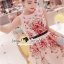 Seoul Secret Say's... Rosy Pink Red Blossom Stickly Netty Maxi Dress thumbnail 3