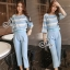 Sevy Two Pieces Of Pastel Blue Strips Blouse With Pants Sets (Belt) thumbnail 2