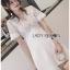 🎀 Lady Ribbon's Made 🎀Lady Elena Classy White Lace and Crepe Mini Dress thumbnail 2