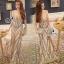 Sevy Elegant Golden Curve Line Gala Dress thumbnail 3