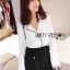 &#x1F380 Lady Ribbon's Made &#x1F380 Lady Grace Minimal Chic Monochrome White Shirt and Black Shorts Set thumbnail 1