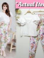 WOWCHICY WHITE SET เสื้อแต่งแขนระบายหวานมาพร้อมกับกางเกงขายาวพิมพ์ลายดอกเข้าชุด