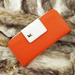 กระเป๋าสตางค์ผู้หญิง หนัง PU ทรงยาว สีส้ม ขาว ช่องซิบขนาดใหญ่