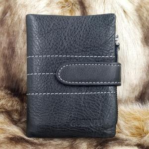กระเป๋าสตางค์หนังแท้ บุรุษ ทรงตั้ง GUBINTU Line Button Zip สีดำ