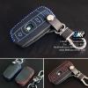 เคสกุญแจหนัง บีเอ็มดับเบิ้ลยู E series สีเทาเข้ม เย็บด้วยด้ายแดง / น้ำเงิน