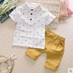 เสื้อยืดและกางเกง เกาหลี (โปโลขาว)