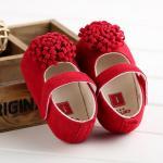 รองเท้าเด็ก รองเท้าหัดเดิน ติดพู่ แดง