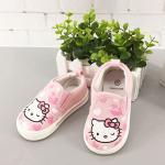 รองเท้าเด็ก รองเท้าพื้นแข็ง ทรงผ้าใบ สลิปออน แมวชมพู (limited)