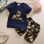Baby Touch เสื้อยืดและกางเกง เกาหลี (เต็นท์น้ำเงิน)