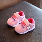 รองเท้าเด็ก รองเท้าพื้นแข็ง ทรงกีฬา N แบบเชือก (ชมพู)