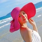 หมวกทรงWide brim สีโรส ONE SIZE