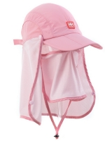 Nature Hike | Sun Shading Quick Dry Folding Cap with protective face mask (Pink)