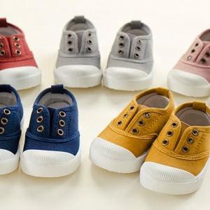รองเท้าเด็ก รองเท้าพื้นแข็ง ทรงผ้าใบ รูเชือก (Shoes - FHV2)