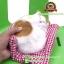 ตุ๊กตาแมวนอนหลับ สีขาวเหลือง [เบาะแดง] 19x24 CM thumbnail 5
