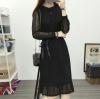 ชุดเดรสลูกไม้สีดำ ชุดผ้าลูกไม้สวยๆ น่ารักๆ แฟชั่นเกาหลี แบบจุดกระดุม แขนยาว