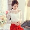 เสื้อลูกไม้สวยๆ แฟชั่นเกาหลี สีขาว แขนยาว เซ็กซี่ เสื้อลายลูกไม้ใส่ออกงาน