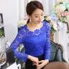 เสื้อลูกไม้สวยๆ แฟชั่นเกาหลี แขนยาว สีน้ำเงิน เสื้อลายลูกไม้ลวดลายดอกไม้