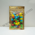 [สินค้าตัวอย่าง/Sample]ถุงซิปล็อคหน้าขุ่น-ทอง หลังเงิน ก้นแบน ขนาด 10x18 cm. 1ใบ