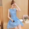 ชุดเดรสลูกไม้สีฟ้า แขนกุด ชุดผ้าลูกไม้สั้นสวยๆ น่ารักๆ แฟชั่นเกาหลี