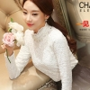 เสื้อลูกไม้สวยๆ แฟชั่นเกาหลี สีขาว แขนยาว เสื้อลายลูกไม้ใส่ออกงาน ประดับคริสตัล