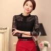 เสื้อลูกไม้สวยๆ แฟชั่นเกาหลี สีดำ แขนยาว เสื้อลายลูกไม้ใส่ออกงาน แอบเซ็กซี่