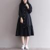 ชุดเดรสเกาหลี สีดำ ชุดเดรสน่ารัก ชุดเดรสแฟชั่นสวยๆ คอปก แขนยาว