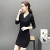 ชุดเดรสลูกไม้ออกงานสวยๆ สีดำ ชุดผ้าลูกไม้แฟขั่นเกาหลี แขนยาว ซับกำมะหยี่นุ่มๆ