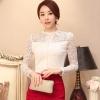 เสื้อลูกไม้สวยๆ แฟชั่นเกาหลี สีขาว แขนยาว เสื้อลายลูกไม้ใส่ออกงาน แอบเซ็กซี่