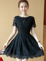ชุดเดรสลูกไม้สีดำ แขนสั้น ชุดผ้าลูกไม้สั้นสวยๆ น่ารักๆ แฟชั่นเกาหลี