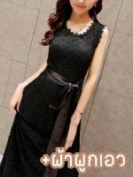 ชุดเดรสลูกไม้ออกงานสวยๆ สีดำ ชุดผ้าลูกไม้แฟขั่นเกาหลี แขนกุด มีผ้าผูกเอว