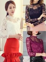 เสื้อลูกไม้สวยๆ แฟชั่นเกาหลี สีขาว สีดำ สีม่วง แขนยาว เซ็กซี่ ชุดผ้าลายลูกไม้ใส่ออกงาน