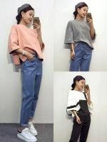 เสื้อผู้หญิง เสื้อยืดแฟชั่นเกาหลี เสื้อยืดคอกลม แขนสามส่วน มีสีเทา สีชมพู สีขาว